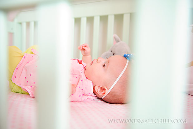 Sweet baby lyla in her aqua crib see the entire nursery at one small