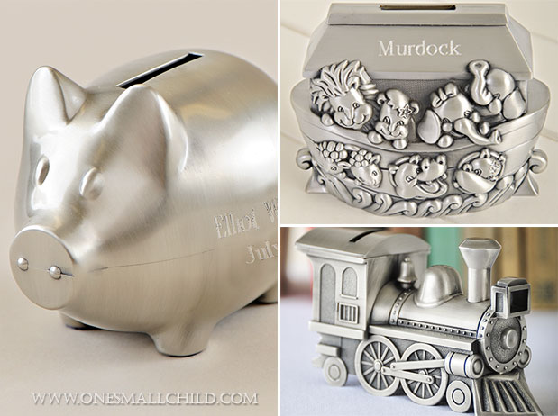 Page 10 of 51 beautiful ideas for christening baby kids - Engraved silver piggy bank ...