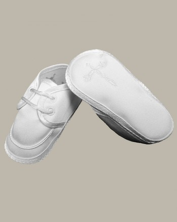Boys Satin Shoe with Embroidered Celtic Cross