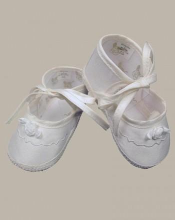 Girls Silk Dupioni Shoes with Ribbon Rosette
