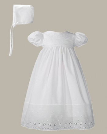 White Cotton Christening Baptism Gown