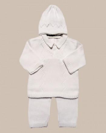 Boy's White 3 Piece Cotton Knit Outfit - BT-A912