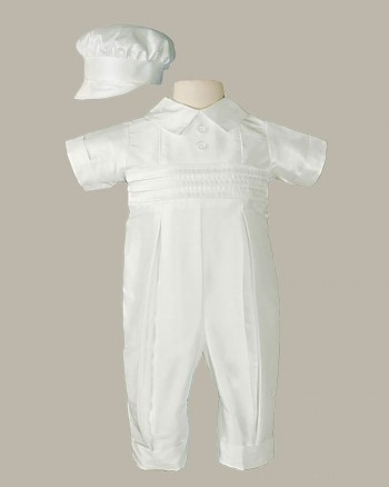 Boys White Silk Christening Baptism Coverall with Hat
