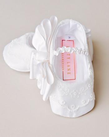 Natalia Silk Christening Slippers