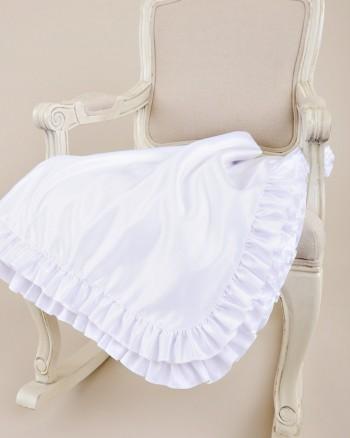 Satin Ruffle Christening Blanket