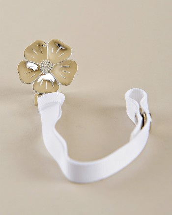 Silver Flower Pacifier Clip