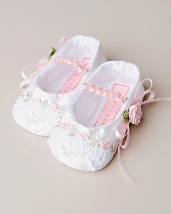 Venise Lace Christening Slippers