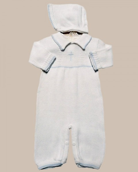 Boy's Soft Cotton Knit Christening Baptism Longall w/ White or Blue Cross and Hat - BT-A268