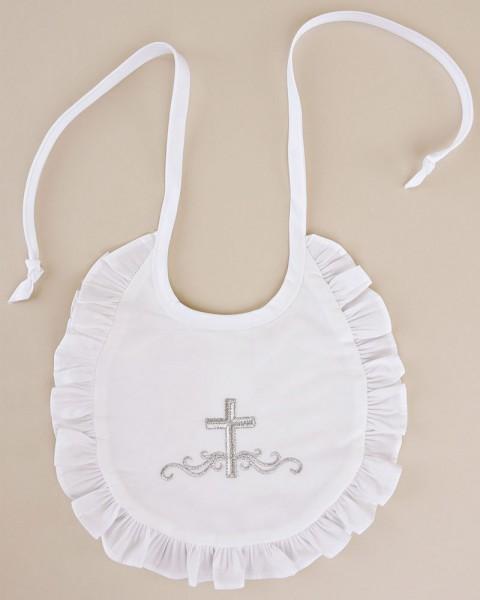 Embroidered Cross  Ruffle Bib