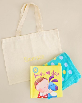Hugs All Day Book and Blanket Gift Tote