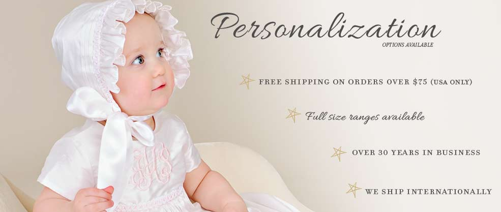 Free Shipping and Personalization on Baptism Gowns