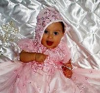 Alyssa Pink Lace Christening, Baptism Gown