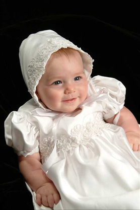 Olivia Satin Christening Gowns
