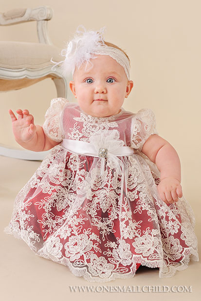 Red Silk Baby Holiday Dress - One Small Child