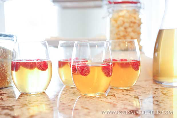 Ginger Ale with Raspberries | Winter Christening Food Ideas at One Small Child