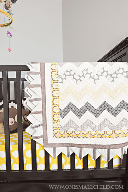 Cute Black Grey Gold Quilt for Baby Boys' Room | Kingston's Nursery at One Small Child