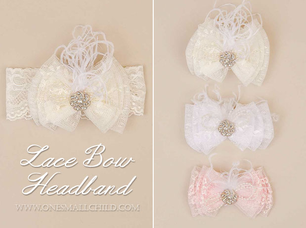 Lace Bow Christening Headbands | One Small Child