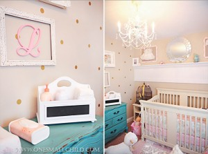 Pretty gold dots on the walls in this pink shabby chic nursery! | See the rest of baby Lily's room at One Small Child: www.onesmallchild.com