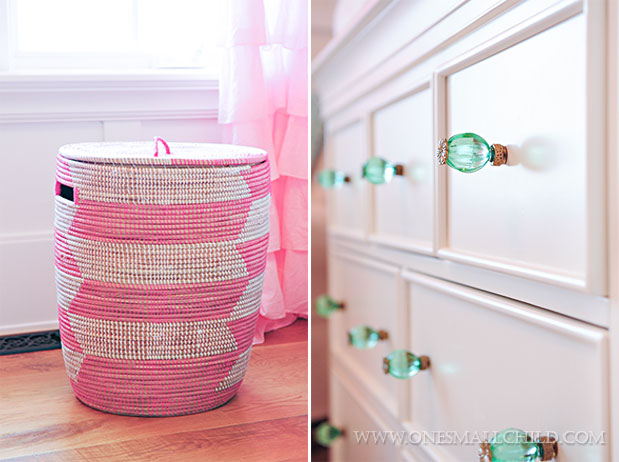 Lyla's hamper and crystal dresser pulls - way cute pink and aqua baby girl's room decorating ideas! | See the entire nursery at One Small Child: www.onesmallchild.com