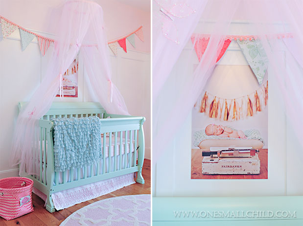 Love the portrait and canopy above this aqua crib | See the entire nursery at One Small Child: www.onesmallchild.com