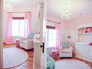 Lyla's adorable pink and aqua baby room - Love the chandeleir!   See the entire nursery at One Small Child: www.onesmallchild.com