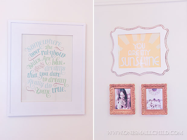 Pretty wall art for decorating a baby girl's room. | See the entire nursery at One Small Child: www.onesmallchild.com