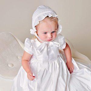 Phoebe Silk Christening Dress - One Small Child