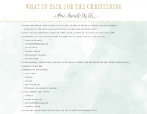 What to pack for the Christening - One Small Child