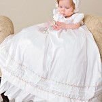 Jessa silk and pink rose christening gown