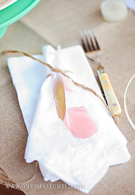 Painted Feather Napkin Rings