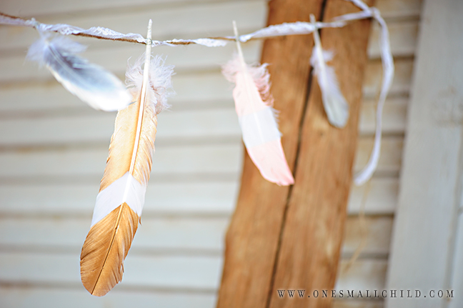 Painted Feather Garland | Christening Party Decorations