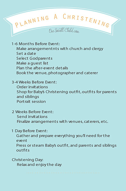 Planning A Christening Checklist - One Small Child