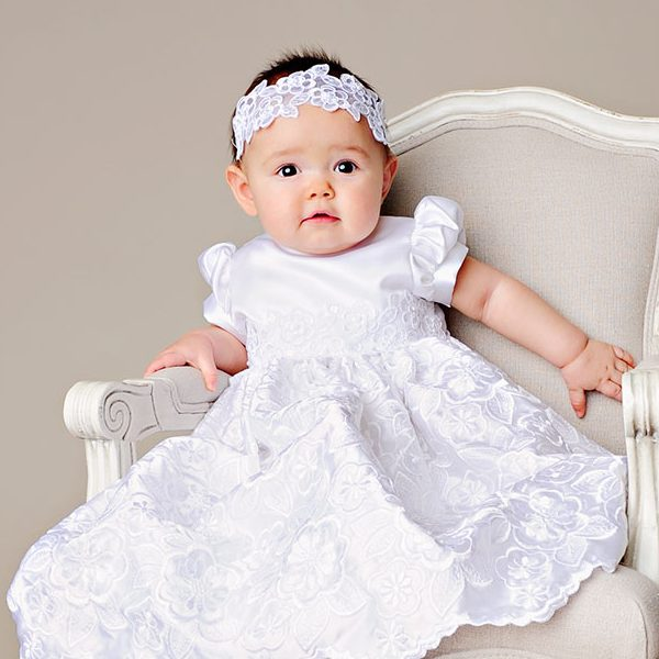 Arianne White Embroidered Satin Dress - One Small Child