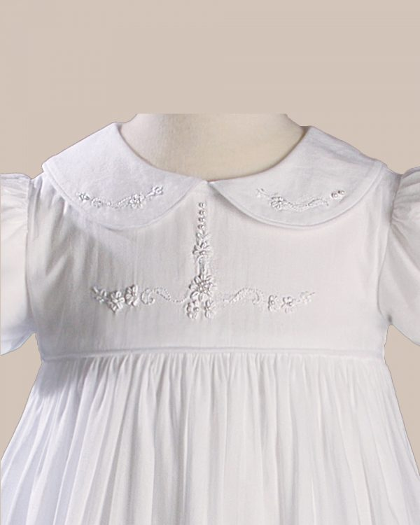 Girls 33? Short Sleeve Gown with Hand Embroidery - One Small Child