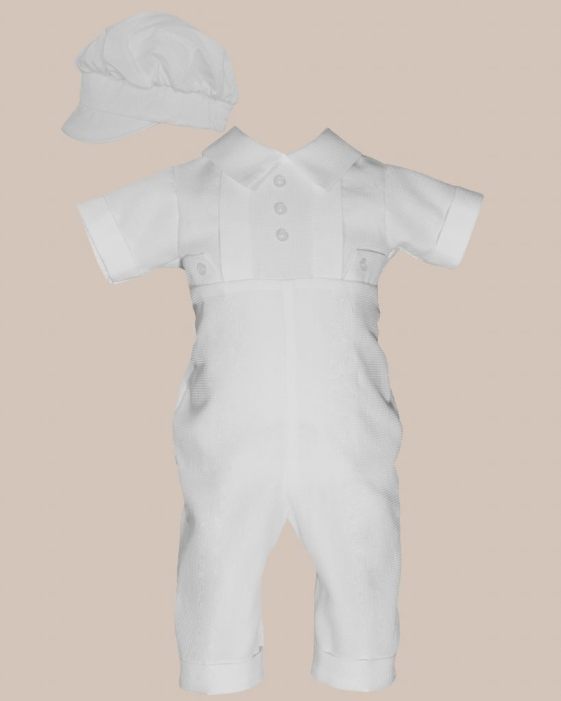 Boys Waffle Pique Christening Baptism Coverall - One Small Child