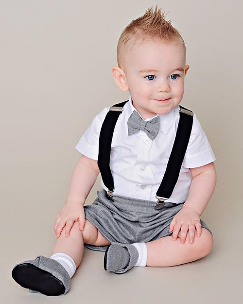 fd7de9e27 Baby Suspenders Gray Outfit by One Small Child