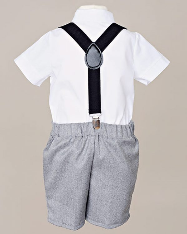Gray Suspender Shorts Outfit