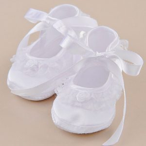 Lace Ruffle Satin Slippers
