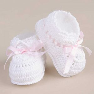 Ribbon Crochet Booties - One Small Child