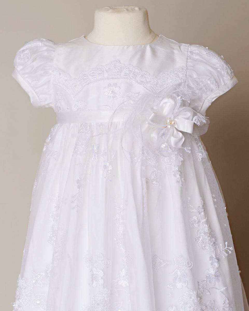 Baptismal Gown Preservation: Preslee Beaded Silk Christening Gown