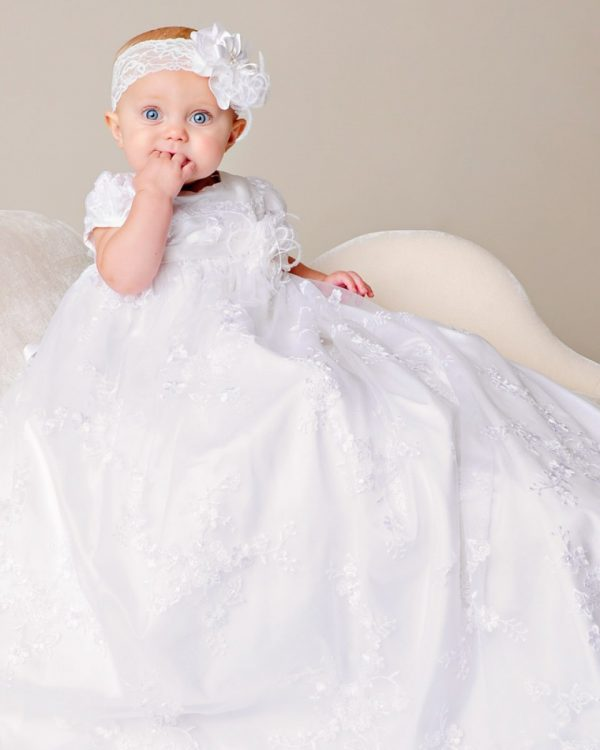 Preslee Beaded Silk Christening Gown