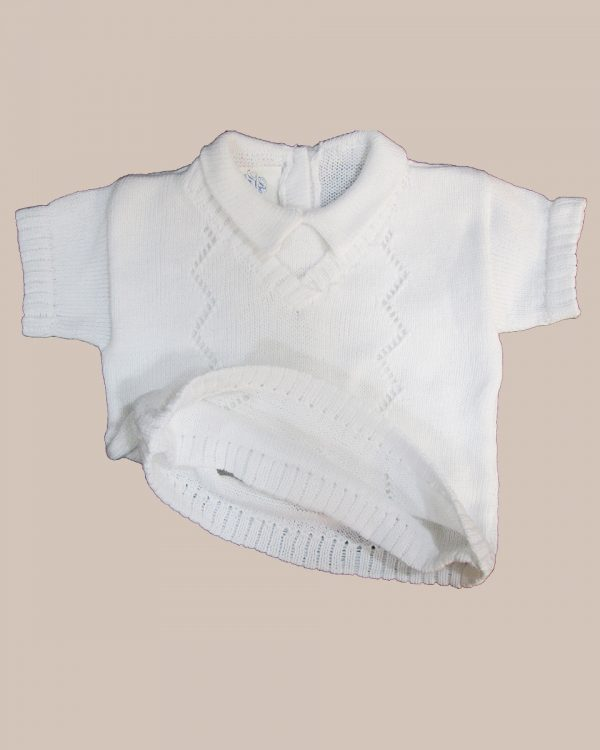 Boy's White 3 Piece Long Sleeved Cotton Knit Sweater Outfit