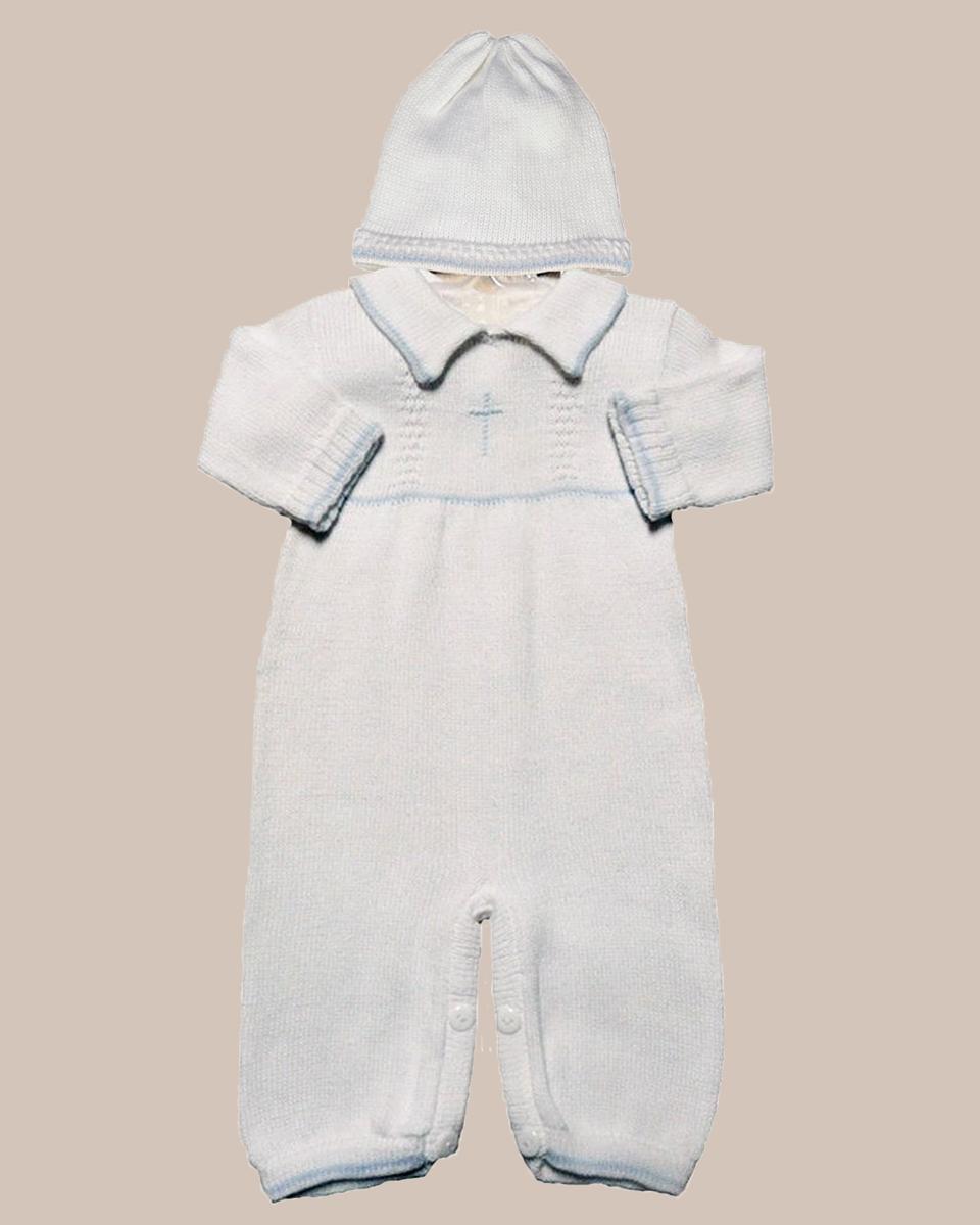 068af764b Boy's Soft Cotton Knit Christening Baptism Longall w/ White, Blue ...
