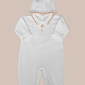 Boy's Soft Cotton Knit Christening Baptism Longall w/ White, Blue, OR Gold Cross and Hat