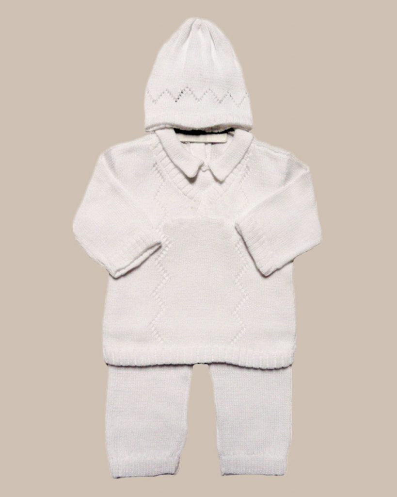 Boy's White 3 Piece Cotton Knit Outfit