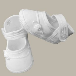 Girls Cotton Shoe with Embroidered Rosebud - One Small Child