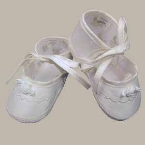 Girls Silk Dupioni Shoes with Ribbon Rosette - One Small Child