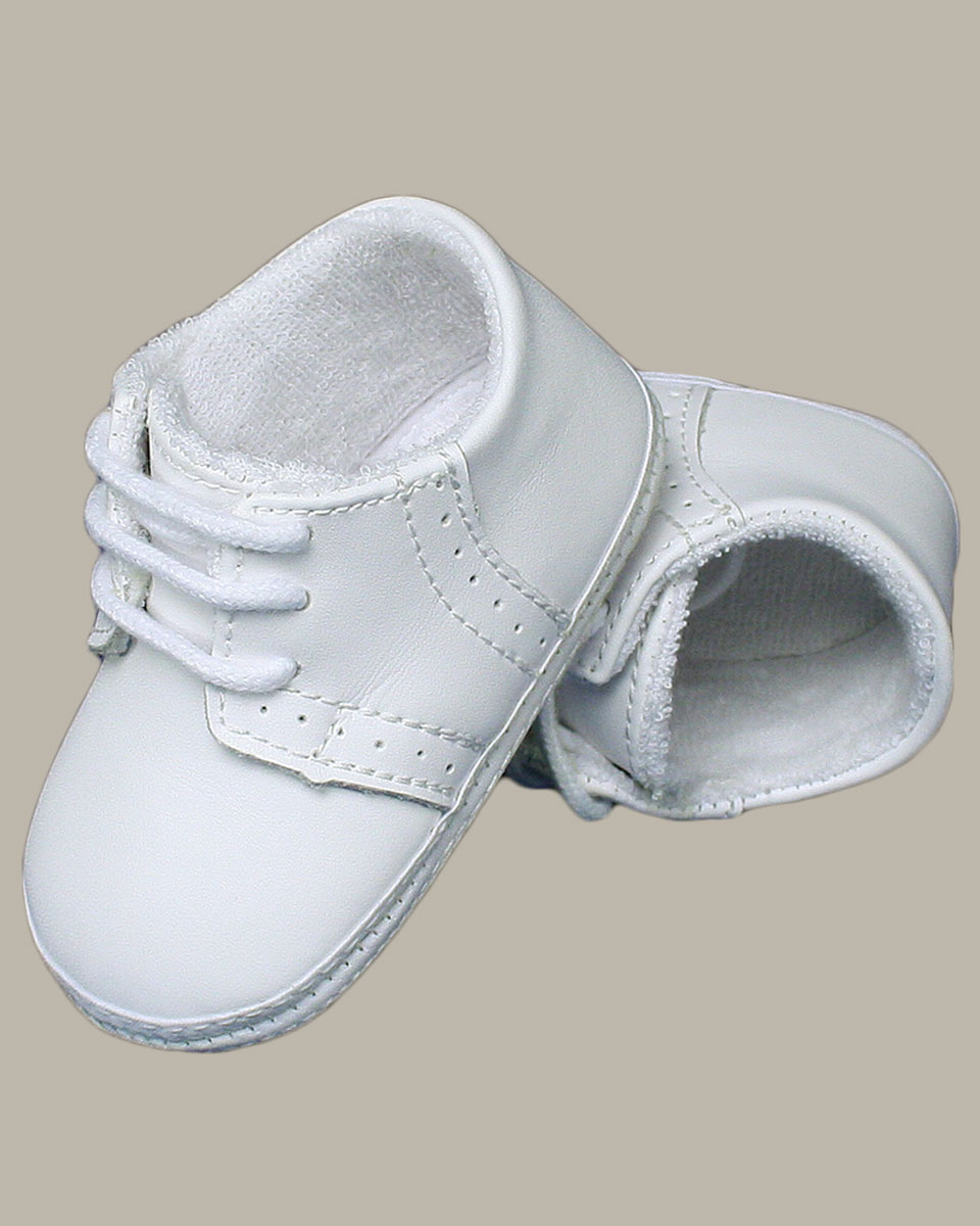 Baby Boys All White Genuine Leather Saddle Oxford Crib