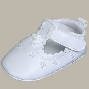 Baby Girls All White Faux Leather Mary Jane Crib Shoe with Perforation Accents - One Small Child