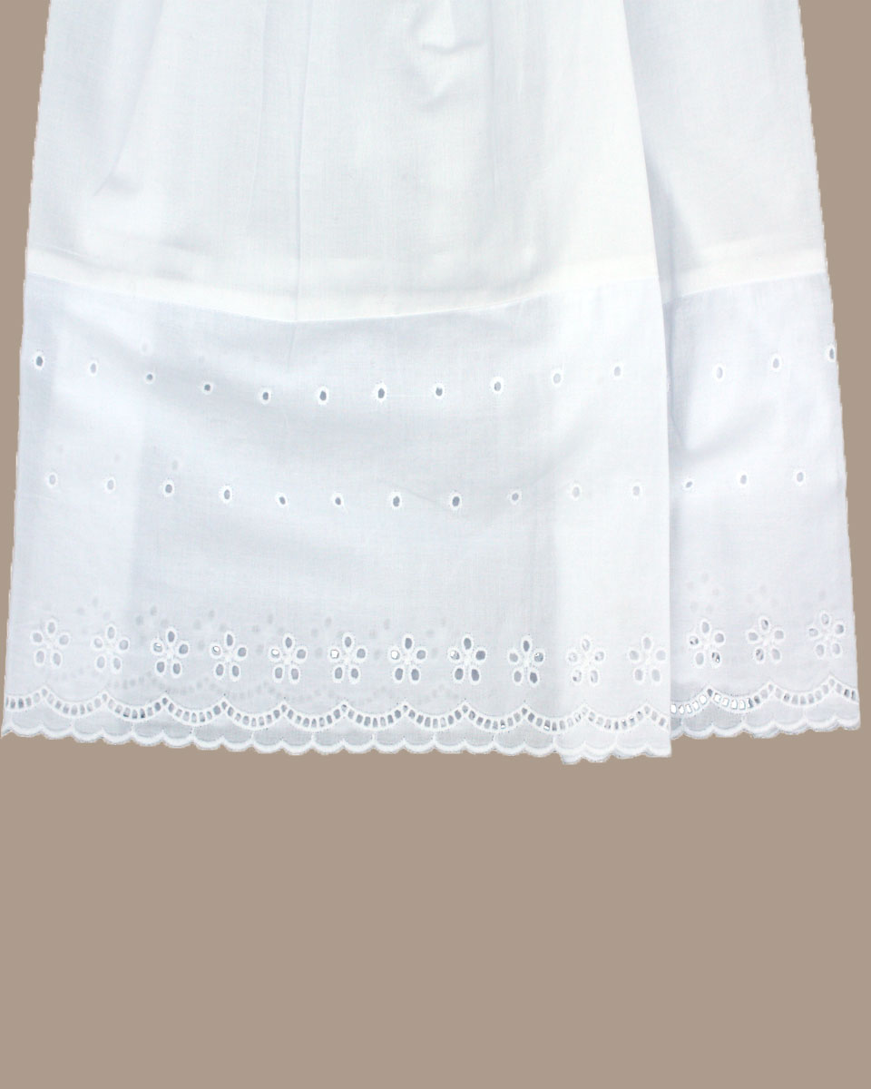 Girls White Cotton Christening Baptism Gown With Lace